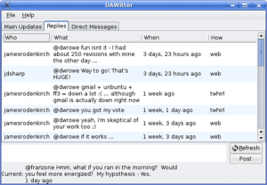 Showing Replies tab functionality